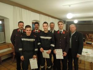 Beförderung zum Feuerwehrmann: Reinhard Holzer, Paul Schnetzinger, Schacherlehner Philipp, Schacherlehner Simon