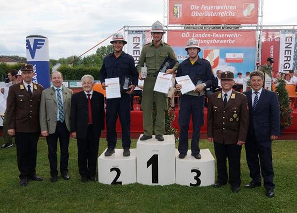Siegererhrung beim oberösterreichischen Landesfeuerwehrleistungsbewerb 2014 in Steyr mit der FFKürnberg auf Platz 1 in Bronze