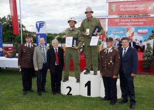 Siegererhrung beim oberösterreichischen Landesfeuerwehrleistungsbewerb 2014 in Steyr mit der FFKürnberg auf Platz 1 in Silber