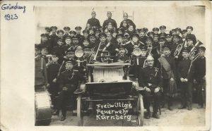 Gründungsfoto Freiwillige Feuerwehr Kürnberg als Feuerwehrmusik