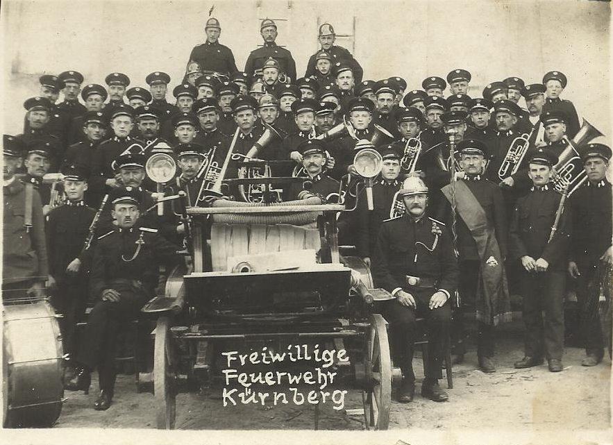 Gründungsfoto Freiwillige Feuerwehr Kürnberg 1923 als Feuerwehrmusik